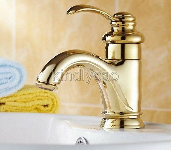 gold color bathroom faucets luxury gold color brass single lever bathroom basin sink 18529