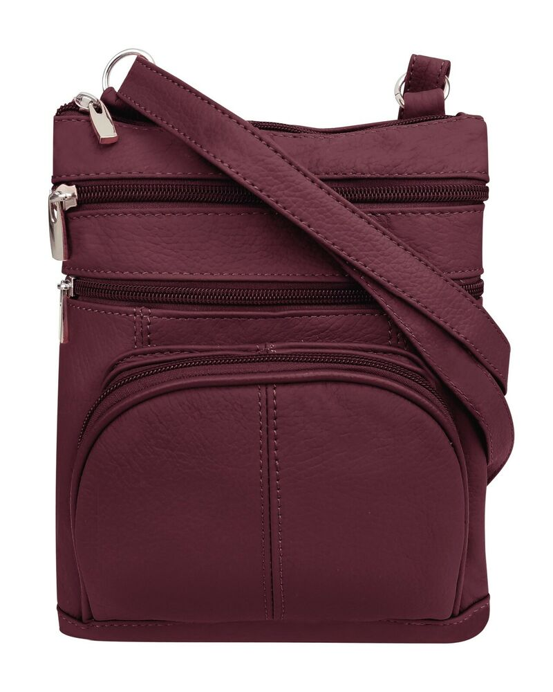 d44740dfab Details about Roma Leathers Genuine Leather Multi-Pocket Crossbody Purse Bag  (Wine)