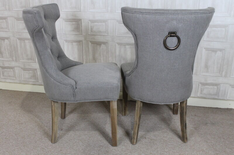 French Style Upholstered Dining Chair In Stone With Button
