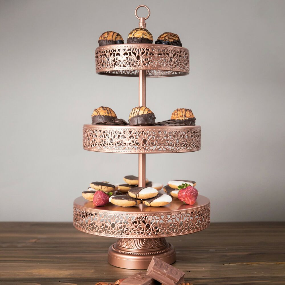 3 tier metal round cupcake stand dessert cake display tower wedding birthday 22 ebay. Black Bedroom Furniture Sets. Home Design Ideas