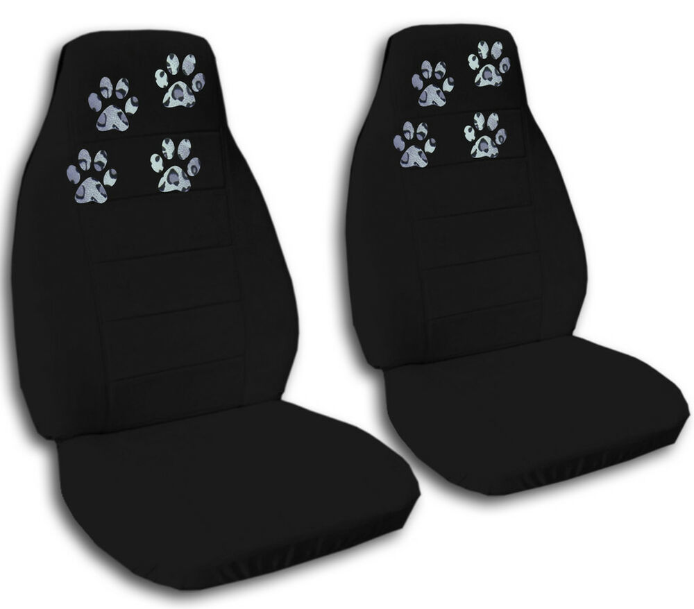 Paw Prints Car Truck Van Seat Covers In Black Velour Front