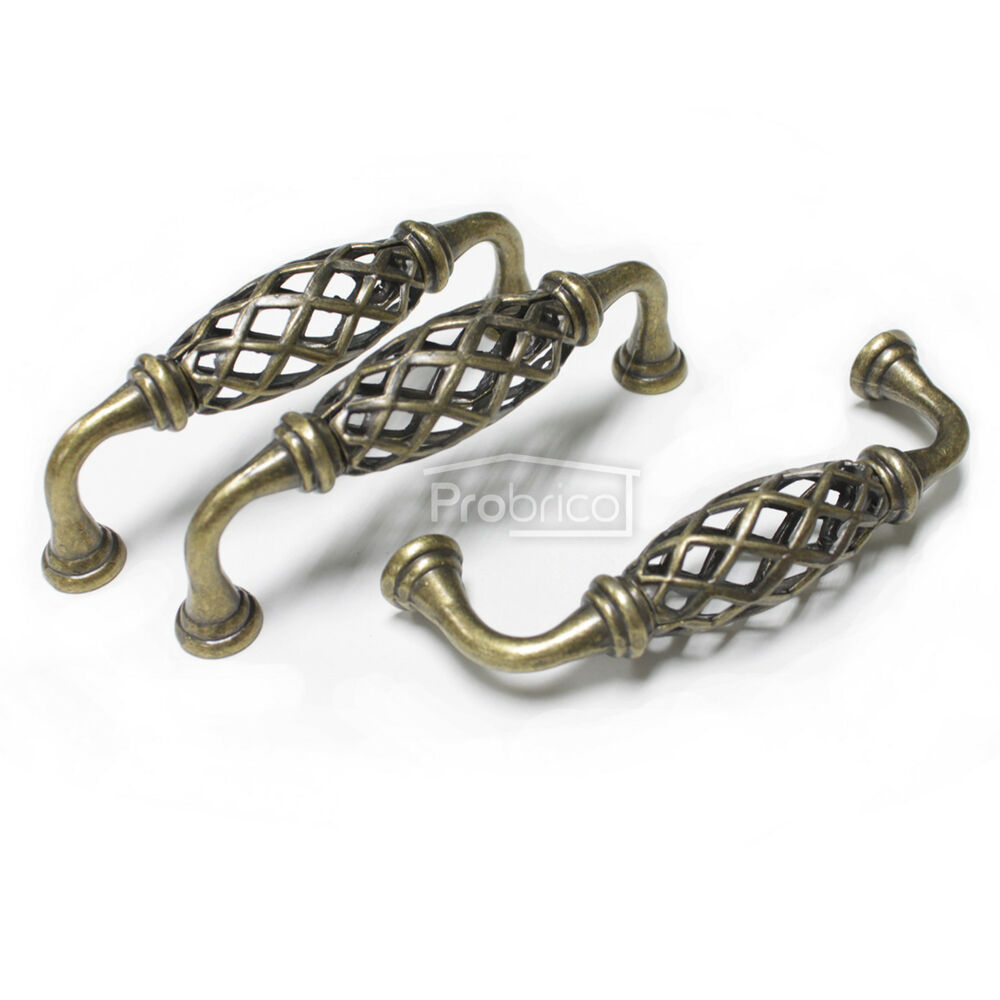Antique Bronze Birdcage Vintage Kitchen Cabinet Pull Handles Drawer Knobs 96mm Ebay