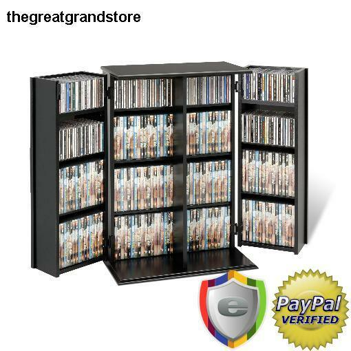 Adjustable Media Storage Cabinet With Shelves Locking Door
