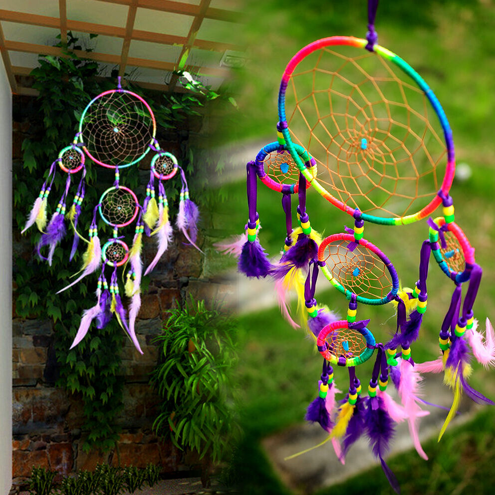 Rainbow dream catcher feathers 13 39 39 wall hanging door for Art for decoration and ornamentation