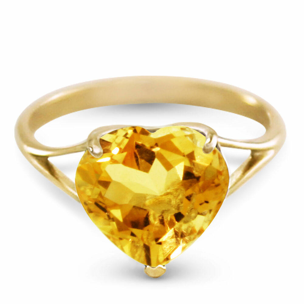 genuine citrine 10 mm heart gemstone solitaire ring 14k yellow white rose gold ebay. Black Bedroom Furniture Sets. Home Design Ideas