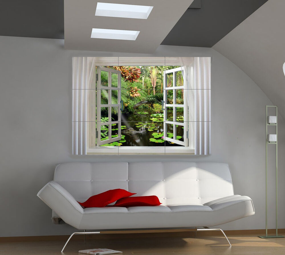 window large giant 3d poster print photo mural wall art ia181 ebay. Black Bedroom Furniture Sets. Home Design Ideas