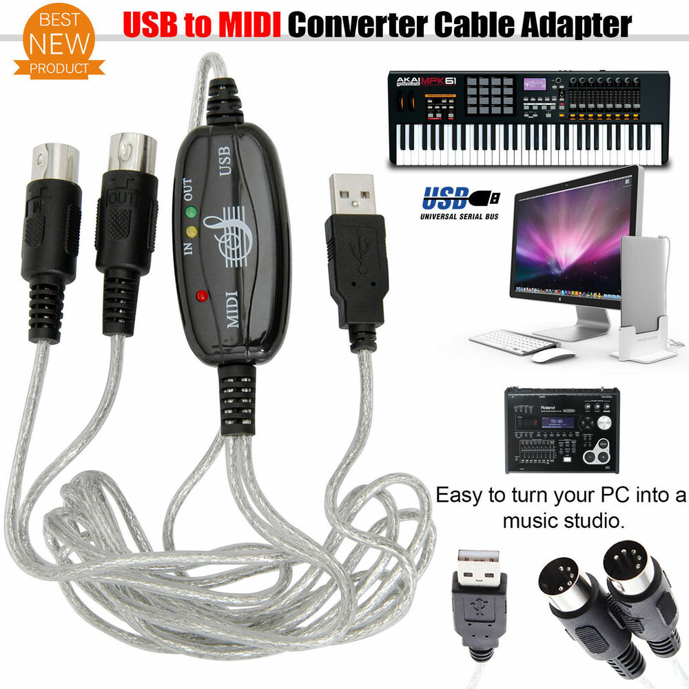 Usb to midi adapter converter piano music keyboard cable for House music midi