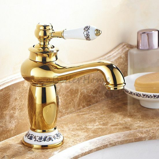 gold polished brass bathroom porcelain single handle sink 20030