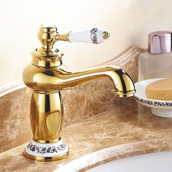 Gold polished brass bathroom porcelain single handle sink faucet basin mixer tap ebay for Polished gold bathroom faucets