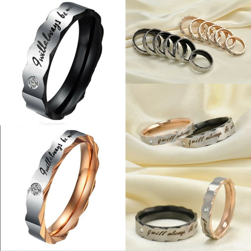 Engagement Rings For Couples: Couple Rings Titanium Steel Black&Gold Lover's Wedding