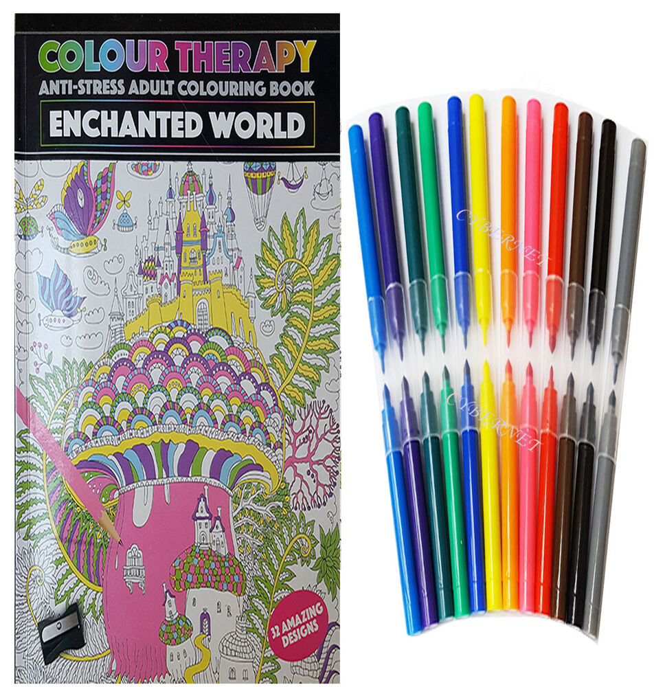 Colourtation anti stress colouring book for adults volume 1 - Anti Stress Colouring Book And Pens New Colour Therapy Anti Stress Adult Colouring Book Plus