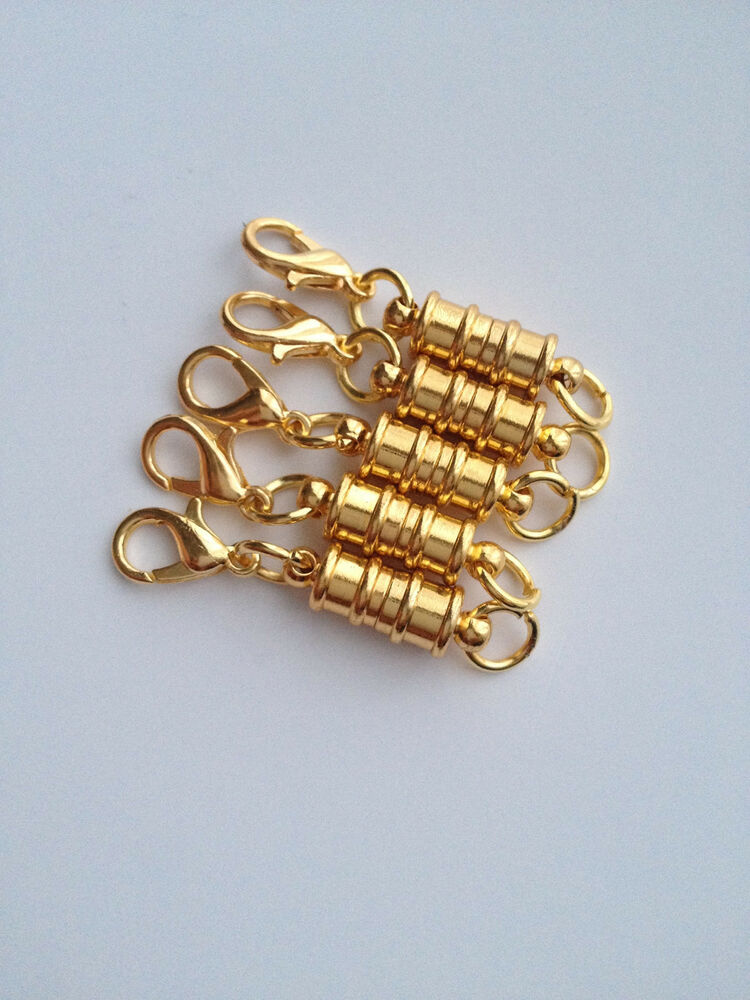 5 Pcs Magnetic Gold Plated Brass Clasps Jewelry Fastener