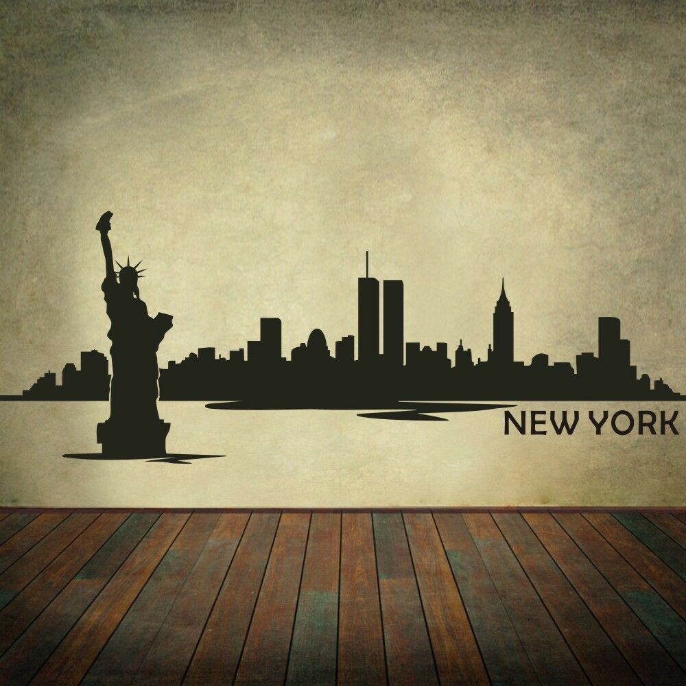New york city silhouette wall decal nyc skyline removable for New york city decor