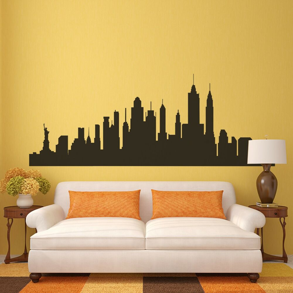 new york city skyline wall decal nyc silhouette vinyl home removable. Black Bedroom Furniture Sets. Home Design Ideas