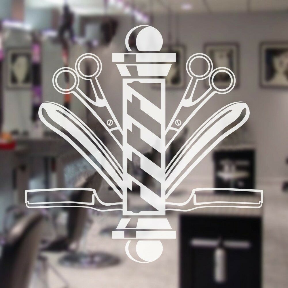 Hair Beauty Salon Wall Decal Barber Shop Pole Scissors