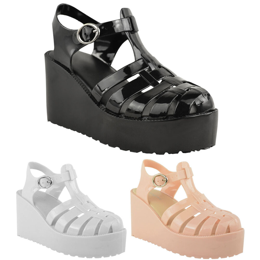 b7867beab5a4 Details about LADIES WOMENS PLATFORM JELLY SANDALS WEDGE SUMMER HIGH HEELS  STRAPPY SHOE SIZE