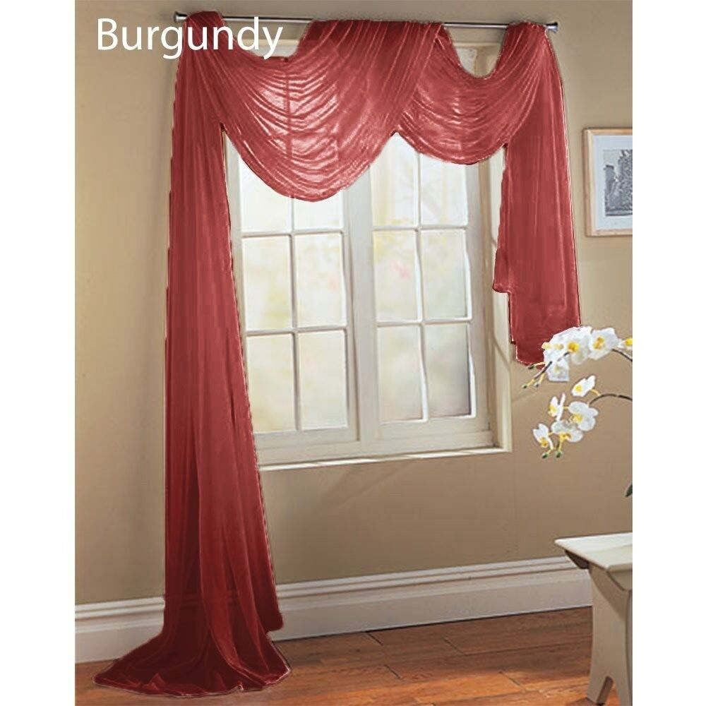 Burgundy Scarf Sheer Voile Window Treatment Curtain Drapes