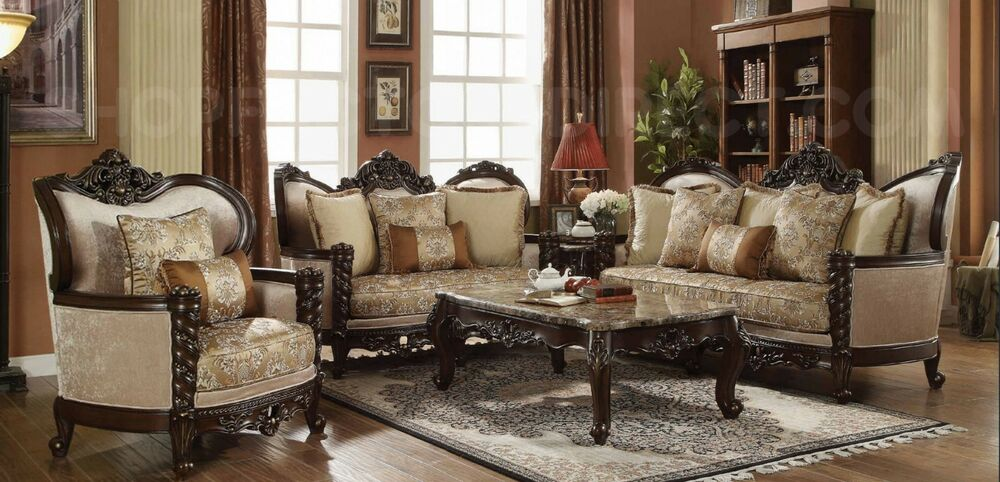 Traditional victorian luxury sofa love seat formal living room furniture set ebay - Living room furniture traditional ...