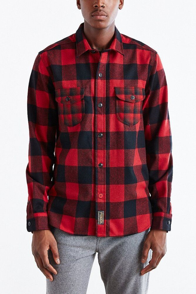 New men 39 s cpo x pendleton mixed red buffalo plaid button for Mixed plaid shirt mens