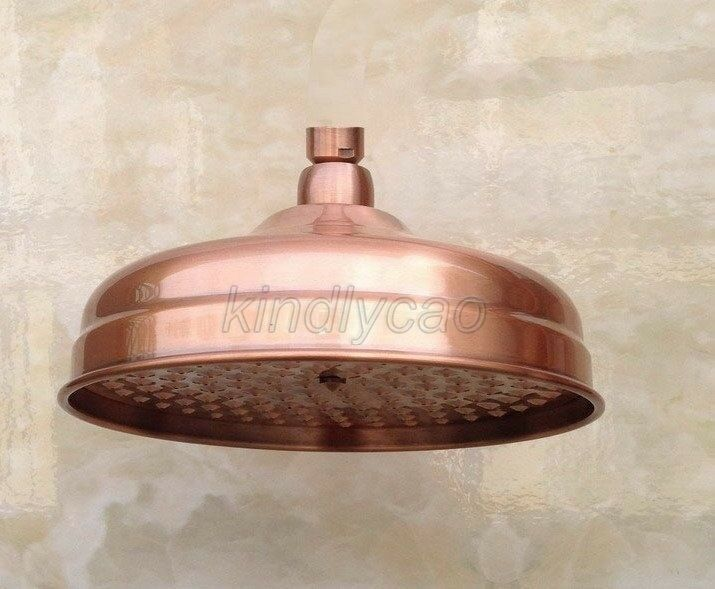 8 inch antique red copper round bathroom rain shower head for Childrens shower head