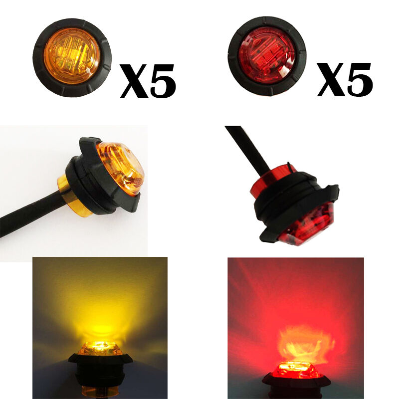 3 4 Quot Round 5 Amber 5 Red Led Turn Signal Kit Side