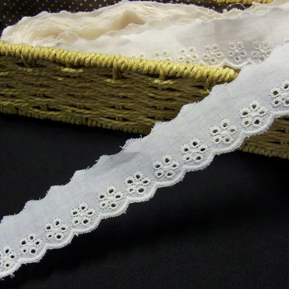 Scalloped embroidery eyelet cotton fabric lace trim inch