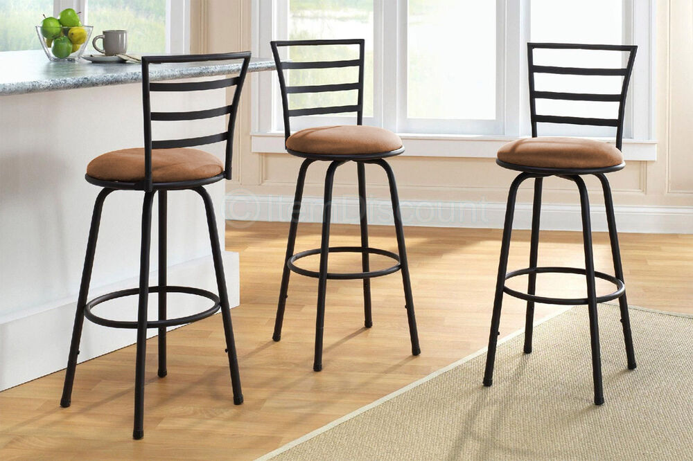 3 Swivel Bar Stool Counter Height Kitchen Chairs Tall