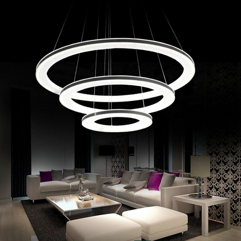 Acrylic Led Ring Chandelier Pendant Lamp Ceiling Light: Modern Galaxy Acrylic Chandelier Rings Pendant LED Light