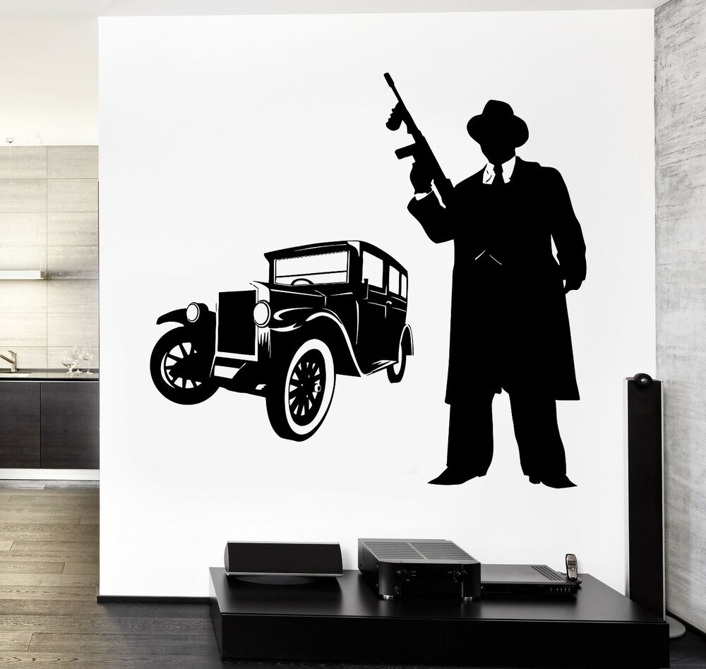 Wall Vinyl Decal Gangster Tommy Gun And Retro Car Amazing
