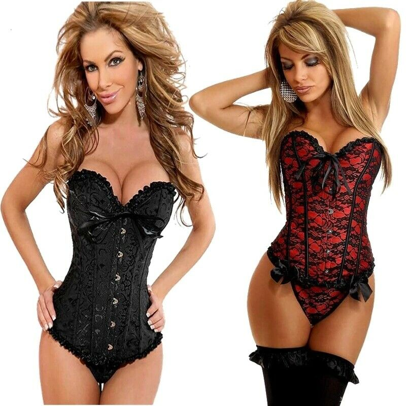 c020f96a3 Sexy Satin Gothic Lace up Boned Overbust Corset Bustier Waist Trainer Plus  Size