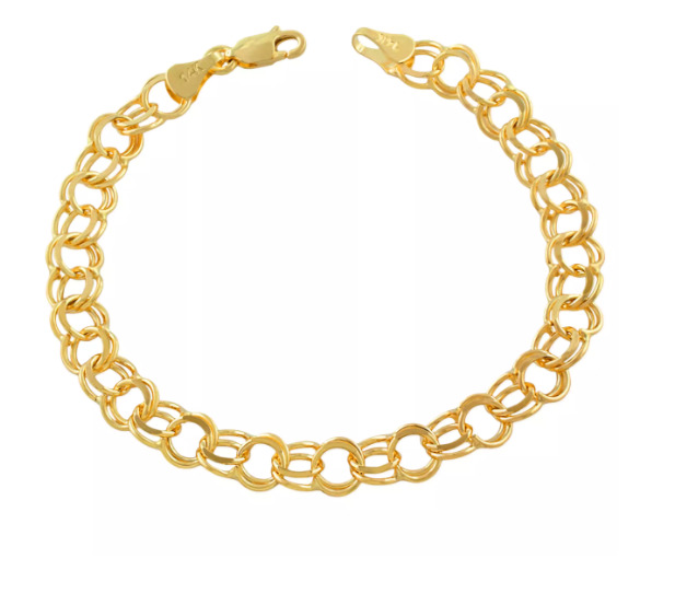 Charm Bracelet In 14k Yellow Gold Double Link Solid