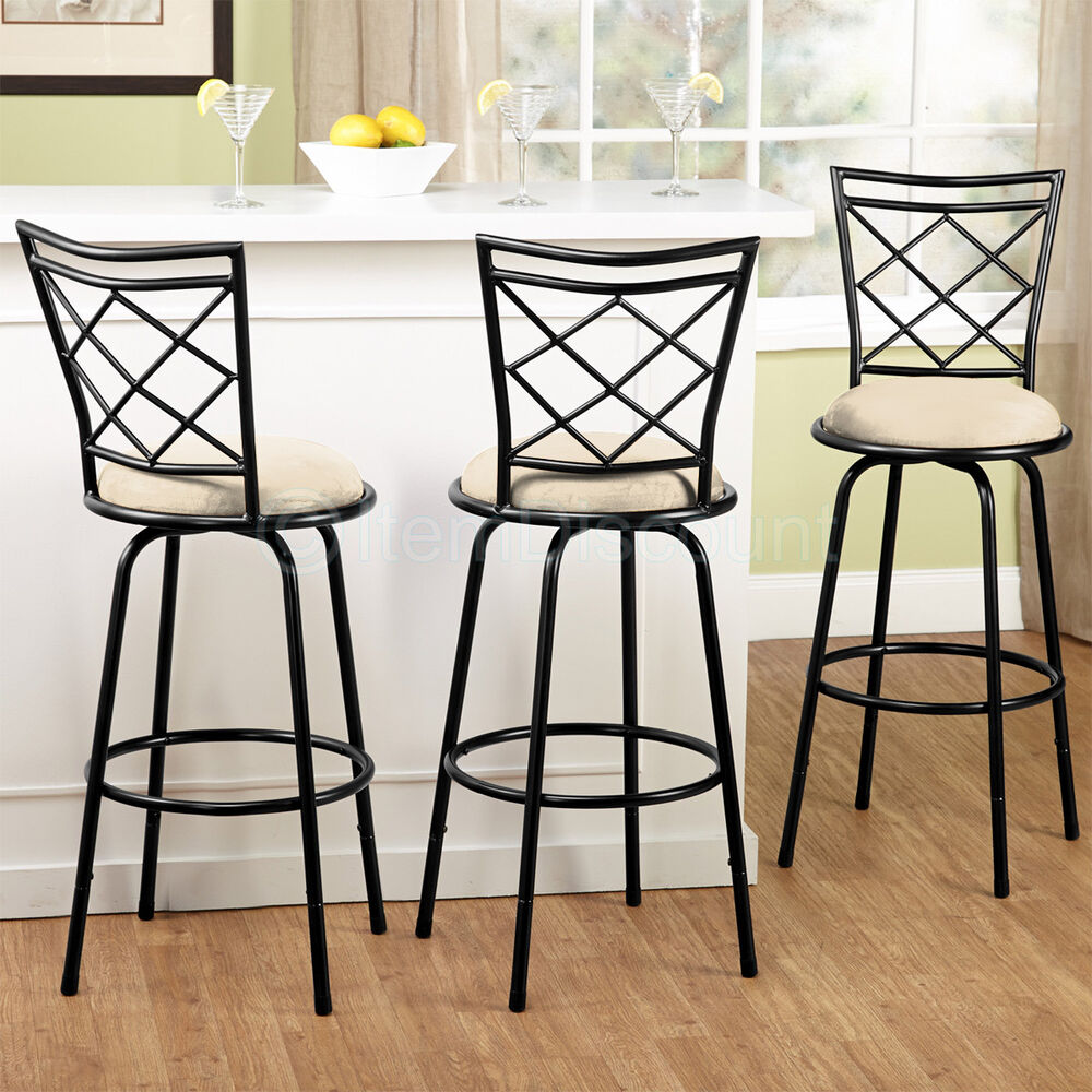 Swivel Counter Stool Bar Stool High Chair Black Kitchen: 3 Adjustable Swivel Bar Stool Set Counter Height Kitchen