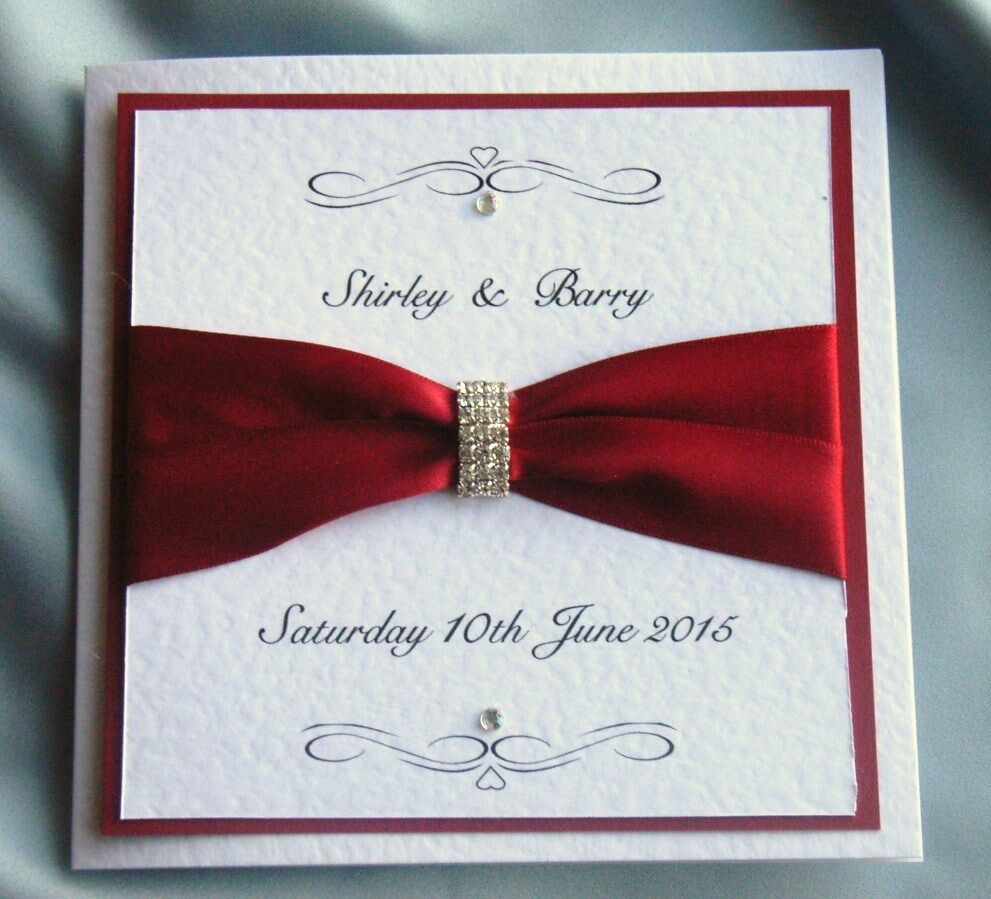 wedding invitation Wine/claret ribbon & Diamanté trim (Sebastian) | eBay