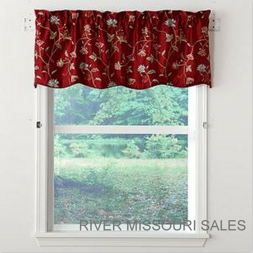 Rich Red Burgundy Tailored Floral Vines Scalloped Window