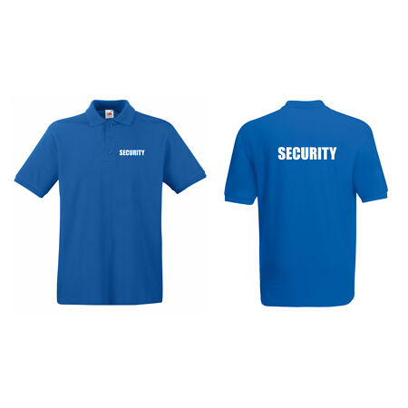img-SECURITY POLO SHIRT DOORMAN BOUNCER GUARD PRINTED FRONT AND BACK ALL COLOURS