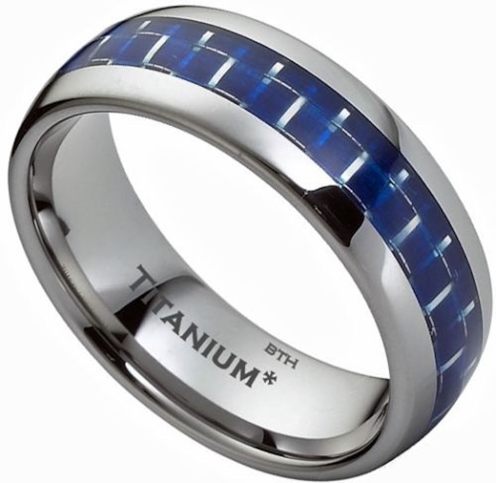 New Boxed Mens Blue Carbon Fiber Inlay Titanium Wedding