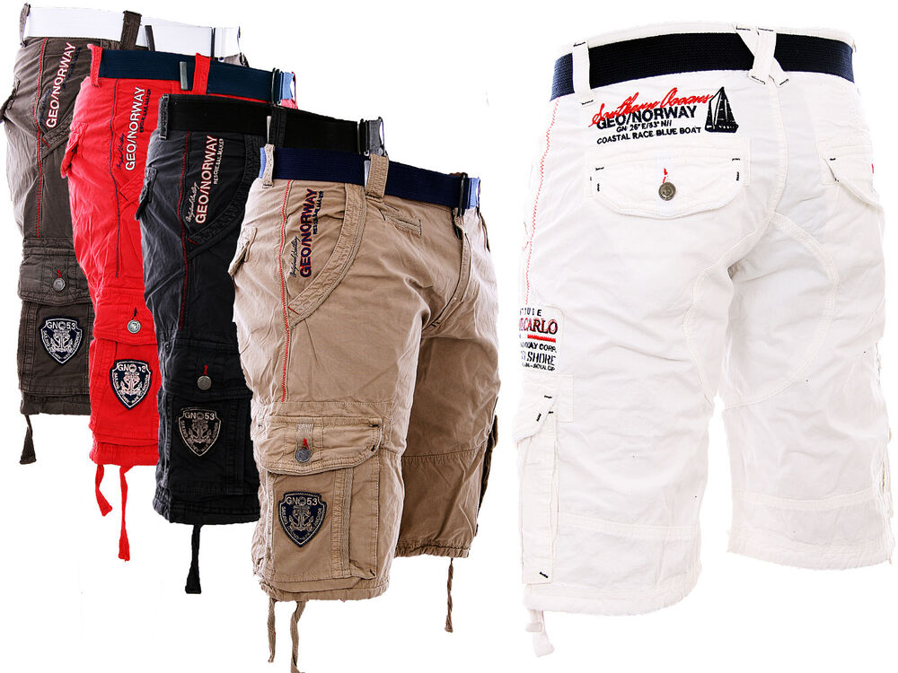 geographical norway cargo shorts kurze hose herren short bermuda g rtel padang ebay. Black Bedroom Furniture Sets. Home Design Ideas