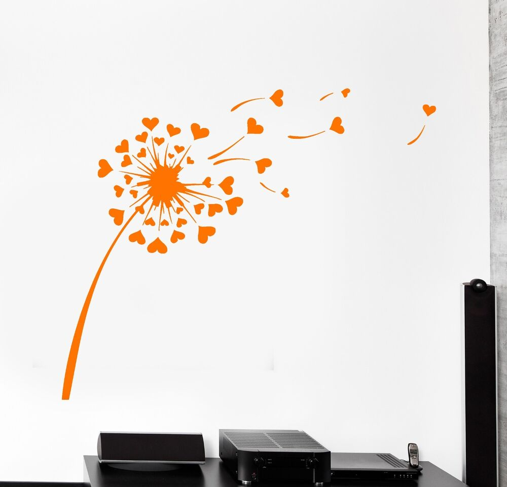 Wall Vinyl Decal Dandelion Floral Romantic Flower Bedroom Sticker