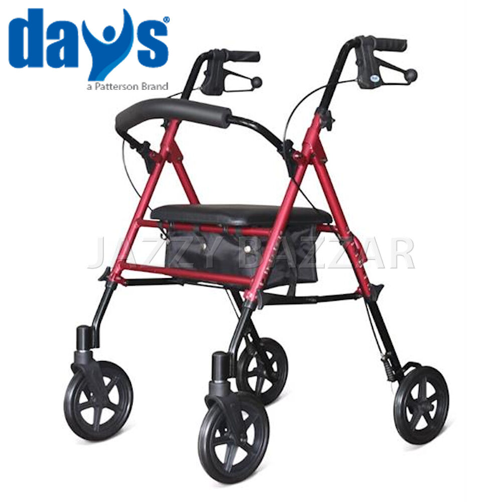 Days aluminium rollator walking frame 7 5 wheel wheeled for Mobility walker