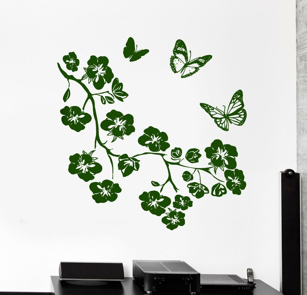 Wall Vinyl Decal Flower Branch Tree Butterfly Nature
