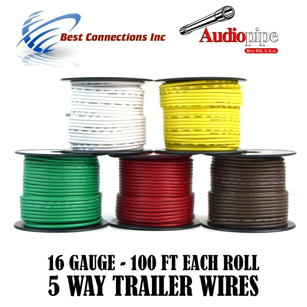 Trailer Wire Light Cable For Harness 5 Way Cord 16 Gauge