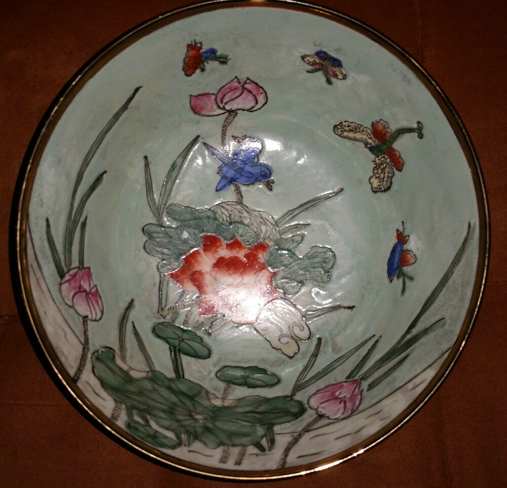 Huge Beautiful Vintage Chinese Porcelain Bowl And Plate