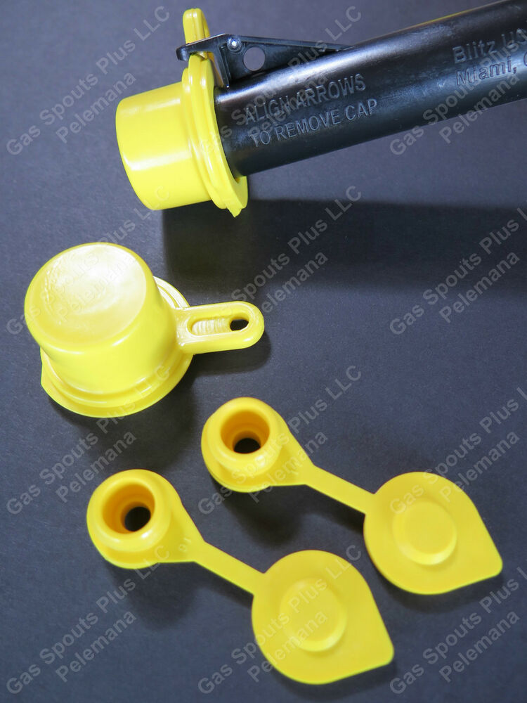 2 Pack Blitz Spout Caps 2 Free Yellow Gas Can Vents Worth