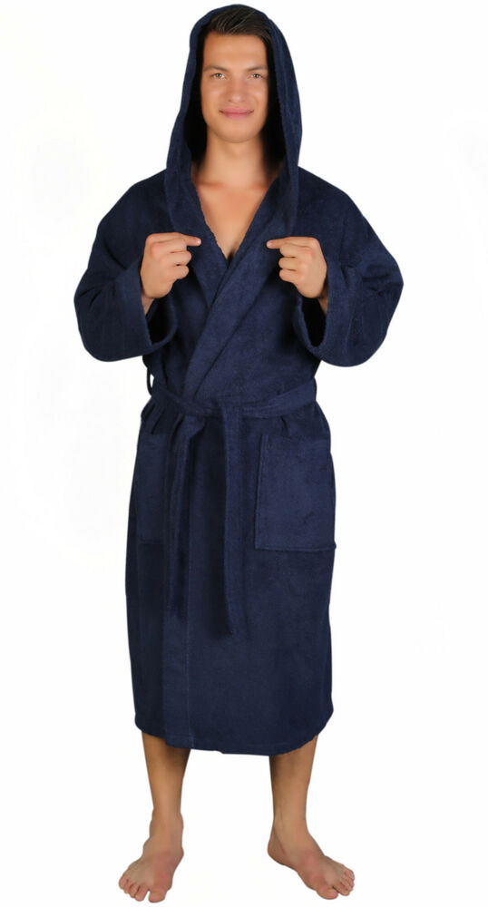 hooded bathrobe mens lightweight marine blue 100 turkish cotton terry robe ebay. Black Bedroom Furniture Sets. Home Design Ideas