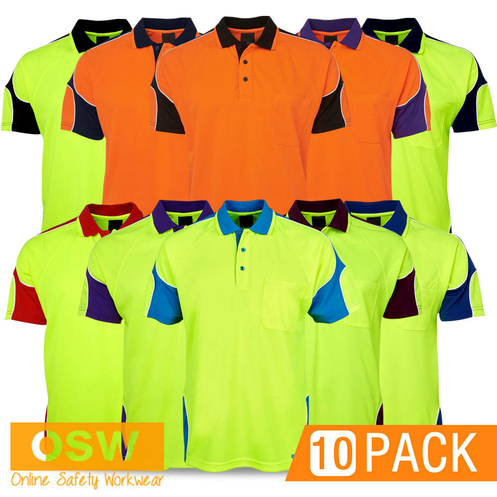 10 X HI VIS UNISEX WORK COOL BREATHABLE MICROMESH SAFETY ...