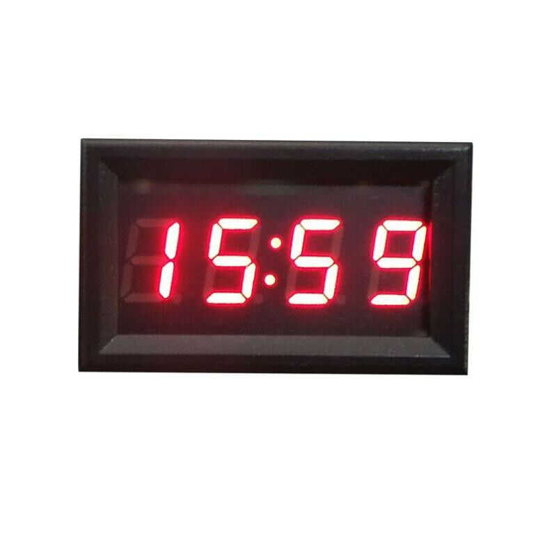 Dc 12v 24v Car Motorcycle Clock Small Red Led Panel Meter