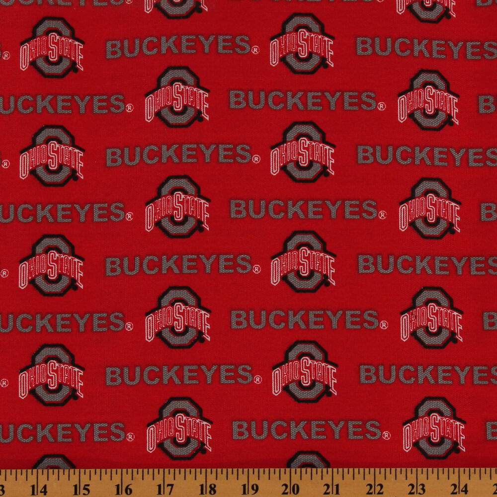 cottonblend duck ohio state university buckeyes fabric print by the yard ohs 250 ebay. Black Bedroom Furniture Sets. Home Design Ideas