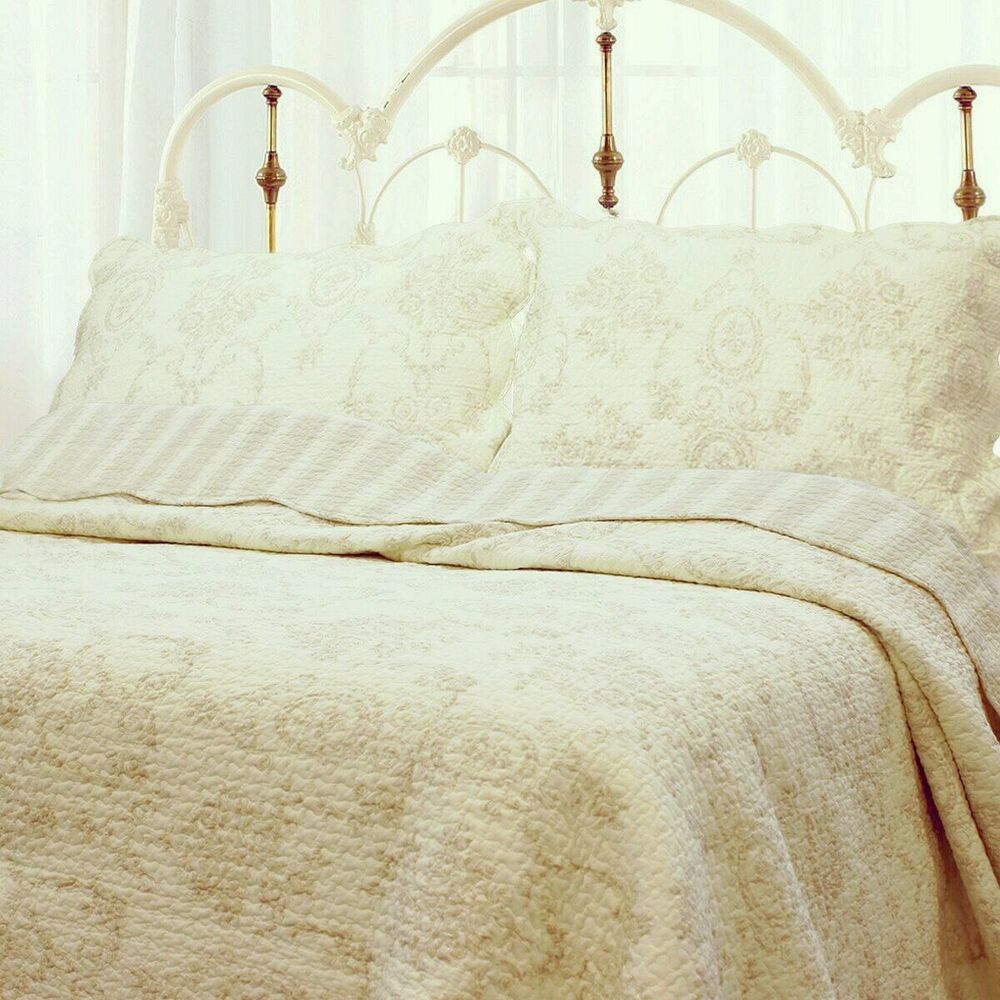 French Medallion Ivory 100 Cotton Quilt Set Bedspread