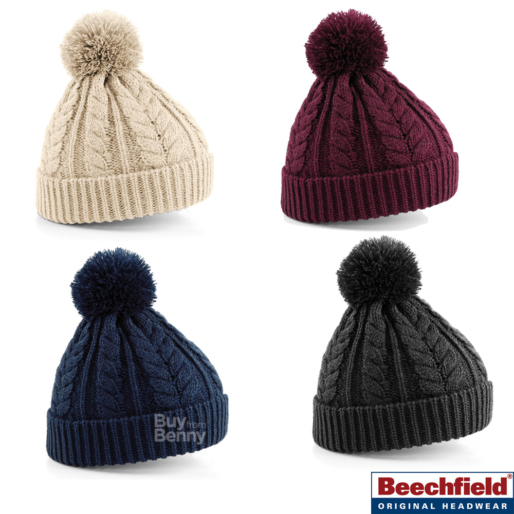 bda96c41b5e Details about POM POM BEANIE HAT BOBBLE CABLE KNIT HEAVYWEIGHT KNITTED  CUFFED WARM SOFT OFFER