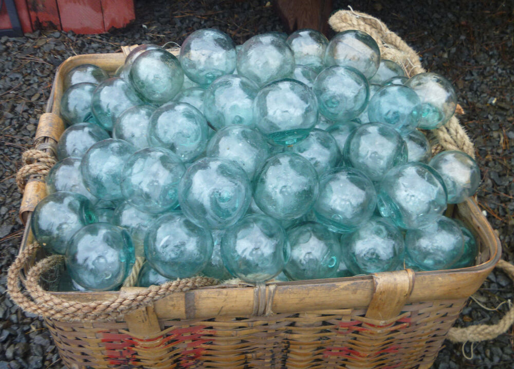Japanese glass fishing floats 2 lot 15 round net buoy for Fishing net floats